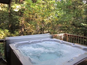 Hot Tub surrounded by beautiful forest