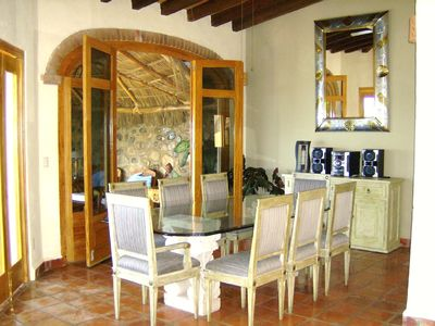 Puerto Vallarta villa rental - The Formal Dining Room Leads to a Large Palapa.