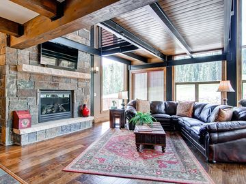 Great Room Fireplace with Ski Area in background