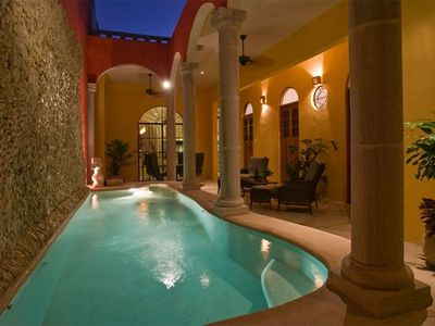 Beautiful terrace with huge stone fountain and private pool
