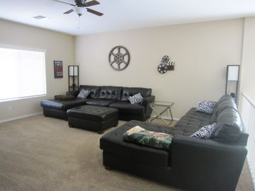 Upstairs family room is perfectly laid out for watching TV and movies!