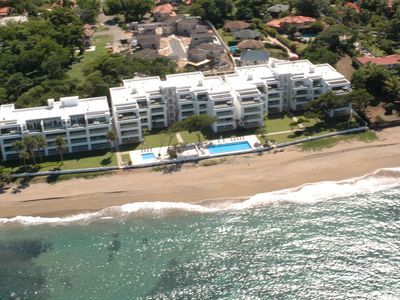 Aerial view of Blue Green Beachfront Condos. 4B2 is on the second floor.