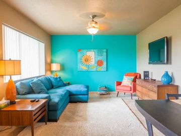 Old Town Scottsdale apartment rental - Super cute living room with new furnishings
