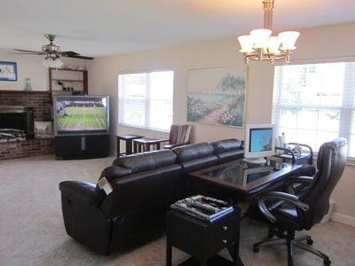 Great Living Room with Couch, Large screen TV and Internet Desk