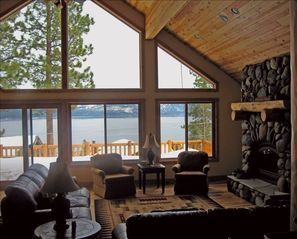 Dollar Point house photo - Stay warm by the stone fireplace watching the Lake while it snows