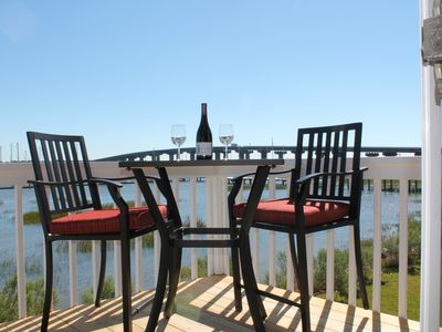 Enjoy this relaxing view from the back deck of Sea Glass Cottage