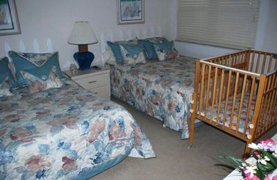 Second Bedroom with 2 double beds and with available crib