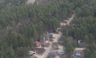 North Conway house photo - View of our home from top of ledge. Ours is to right of red roofed home.