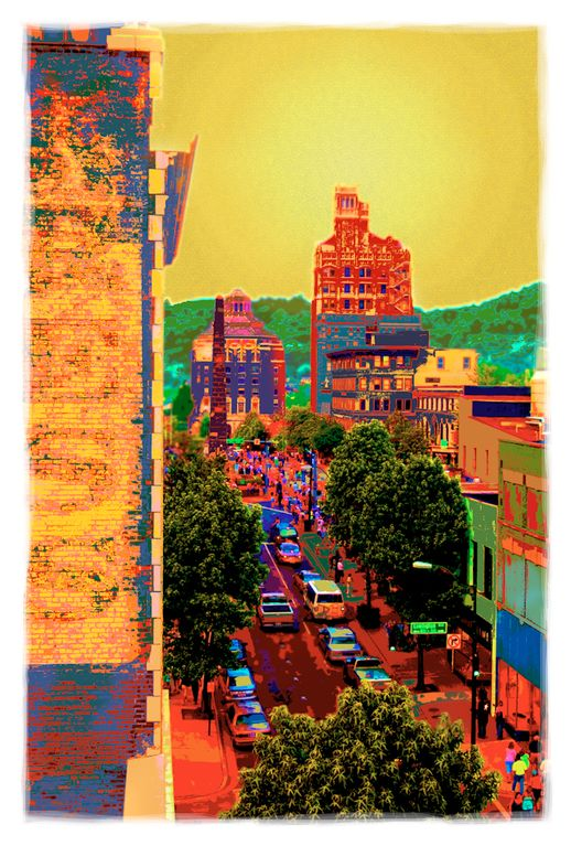 Owner Lynne Harty's well known photo of Asheville was taken from the condo.
