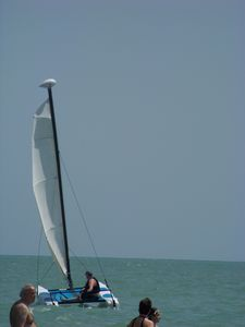 Hobie cat and sea bike rentals about 1/2 mile down the beach at Doubletree Hotel