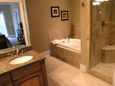 Master bath, whirlpool tub, very large shower with dual heads, double sinks