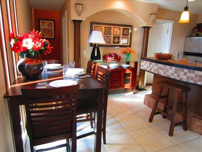 Casual dining area with buffet