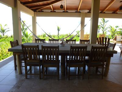 Great Family style table on the deck. Seats 10.