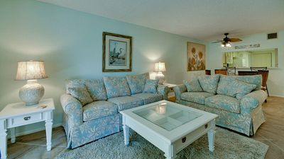 Spacious Living Room area with all new furniture and Queen Sleeper Sofa