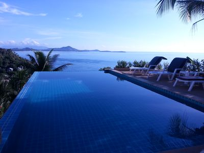 One of our two infinity edge pools, which you can use!