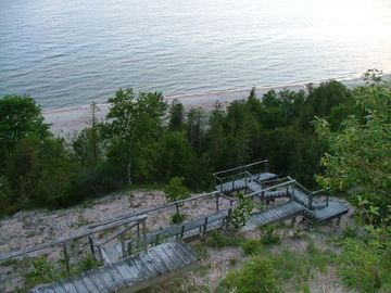 Stairs to beach with built in benches
