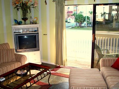 Gulf Shores condo rental - Living Room looking over to beach & Beach Blvd below