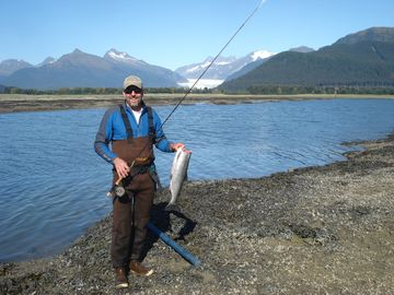 Juneau house rental - Late summer coho run. Fishing is great right in front of the house.