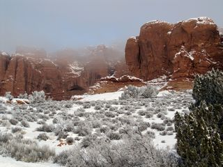 Moab condo photo - Rare snow storm January 2010. Arches Nat'l Park.