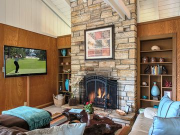 """Carmel house rental - Welcome to """"Forest Hideaway""""! Living Room with Gas Fireplace and HDTV with BluRay DVD."""