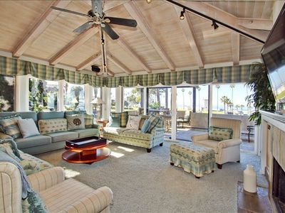 La Jolla house rental - Living room with panoramic ocean views and 55 inch flat screen TV.