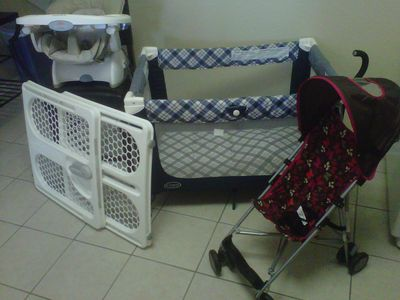 All necessary baby items- high chair, pack and play, stroller and safety gate.