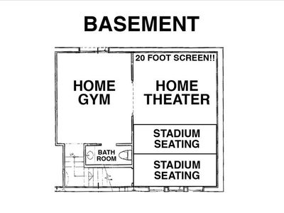 Basement with Huge Home Theater and Home Gym