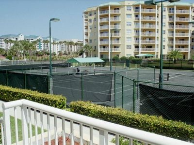 four har-tru well lit tennis courts, for your use free of charge