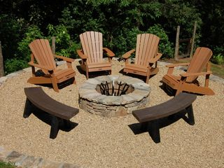 Cashiers house photo - New Back Yard Fire Pit with seating for 8