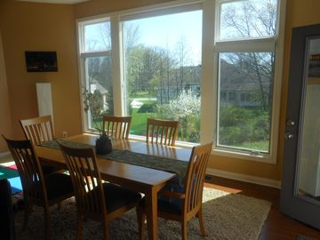 Fort Wayne house rental - dining area with big picture windows