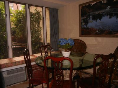 Midtown Manhattan apartment rental - Sunny Dining Room looks into your private Garden