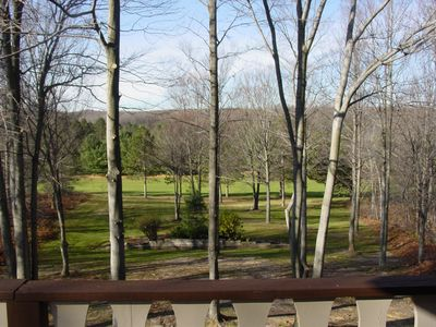 View of golf course from deck.