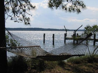 Relax in one of the 3 hammocks at the waterfront and watch the sailboats.