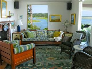 Eastham house photo - Living room with incredible views.