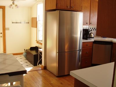 Guilford cottage rental - mudroom area and kitchen