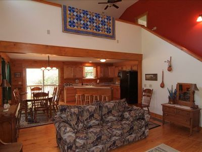 Candler cabin rental - Open Kitchen, Dining Room and Great Room