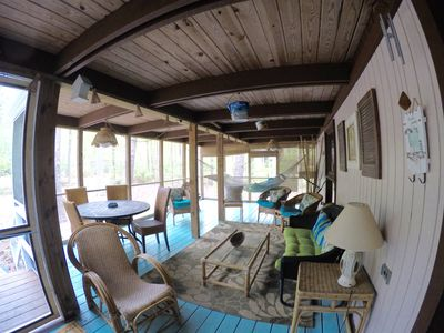 front half of screened in porch (see the indoor hammock!)