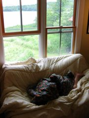 Belmont farmhouse photo - My son napping in the studio with lake view beyond.