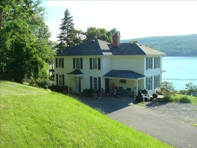 Our spacious home sits on nearly an acre of land, rare for the lake.