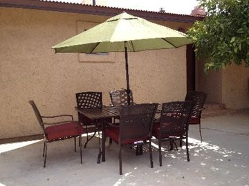 Enjoy this shaded retreat for meals and coffee or tea in the morning