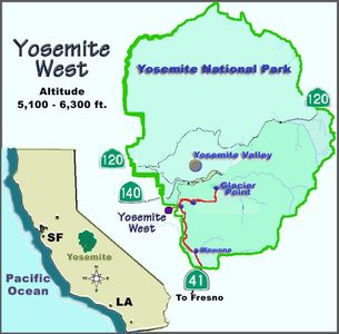 Map of Yosemite West