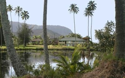 Koloko Exterior - Looking Across Pond Towards Hanalei Pier