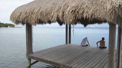 Roatan house rental - dock in front of house