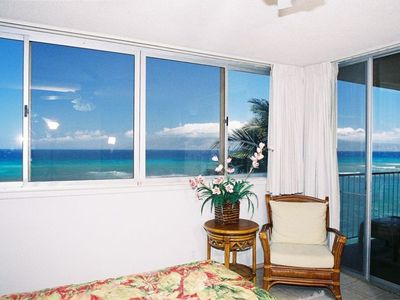 OCEANFRONT view from our bed in the master bedroom!