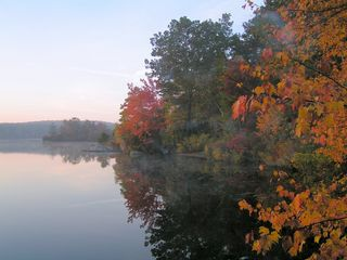 North Stonington house photo - Magical mist on Billings Lake. Walk-in/boat launch area to right of red foliage