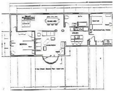Second floor; living/dining room, kitchen, king, queen+single bedrooms, bath