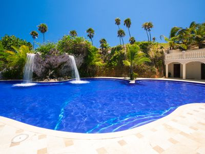 Our award winning dual water fall, salt water pool.