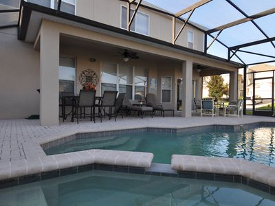 Pool and Spa, Large Covered Lanai, 2 ceiling fans, removable safely pool fence