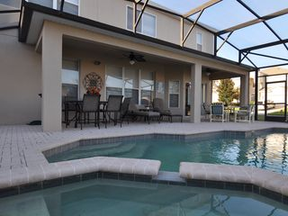 Windsor Hills house photo - Pool and Spa, Large Covered Lanai, 2 ceiling fans, removable safely pool fence