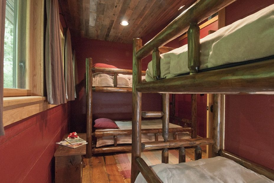 The Bunk Room has 2 Handcrafted Log Bunk Beds
